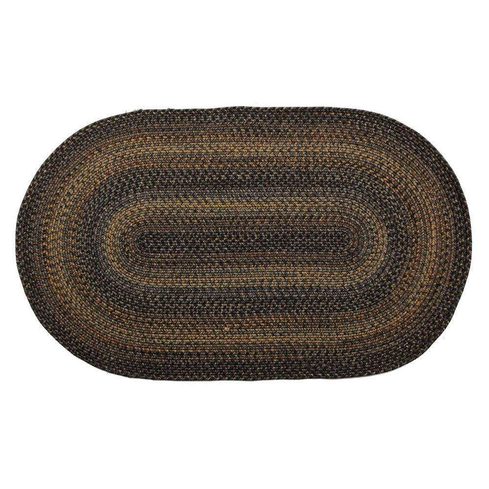 Homespice Décor Black Forest  20 In. X 30 In. Oval Ultra Durable Braided Rug in Black