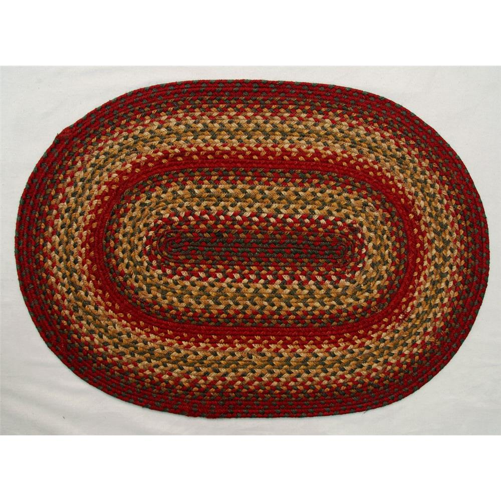 Homespice Décor Cider Barn   20 In. X 30 In. Oval Jute Braided Rug in Red