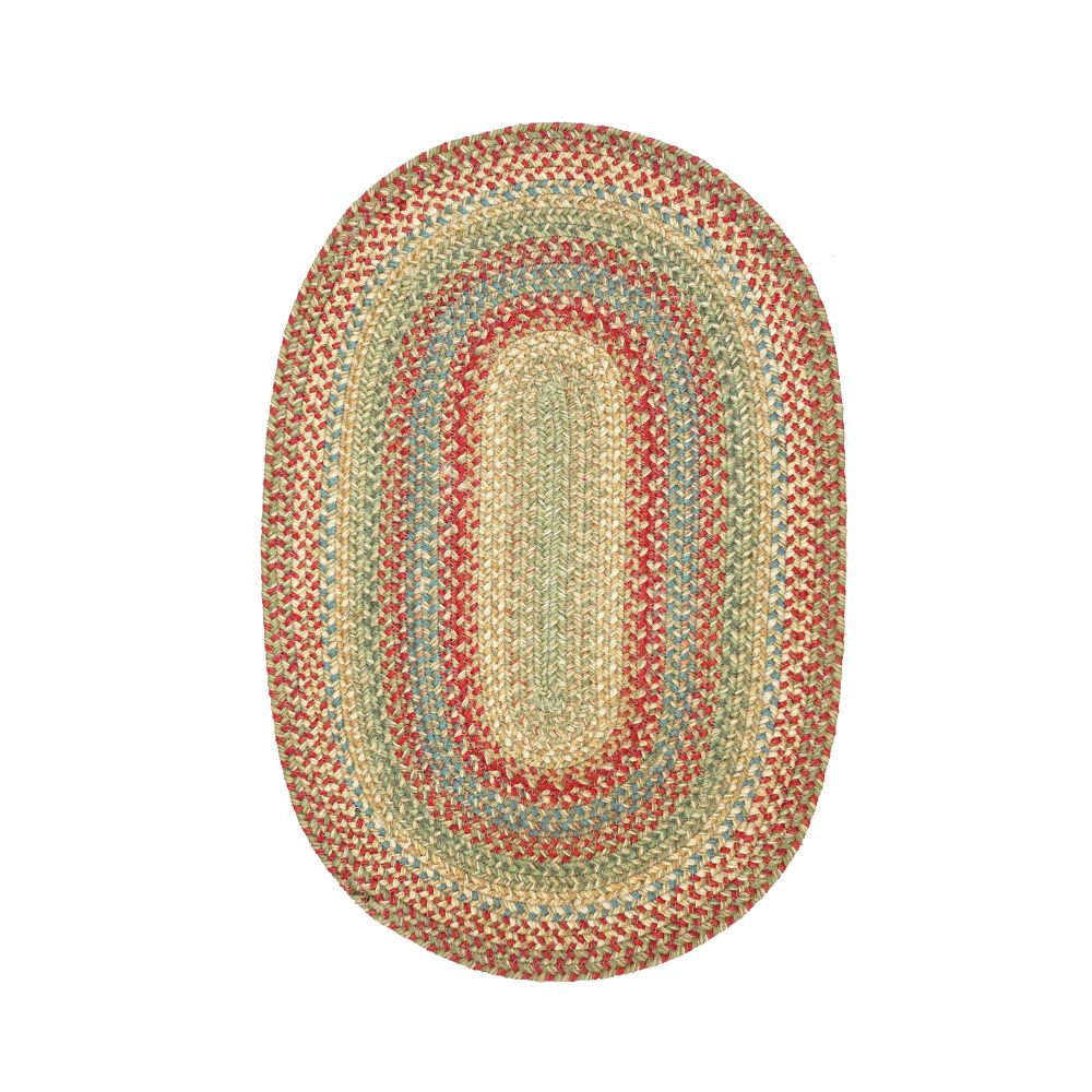 Homespice Décor Azalea  20 In. X 30 In. Oval Jute Braided Rug in Red