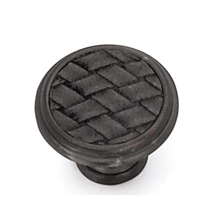 "Laurey 12092 1 1/8"" Churchill Round Knob-Oil Rubbed Bronze/Black Leather Insert in the Churchill collection"