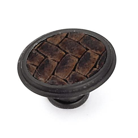"Laurey 12191 1 5/8"" Churchill Oval Knob-Oil Rubbed Bronze/Brown Leather Insert in the Churchill collection"