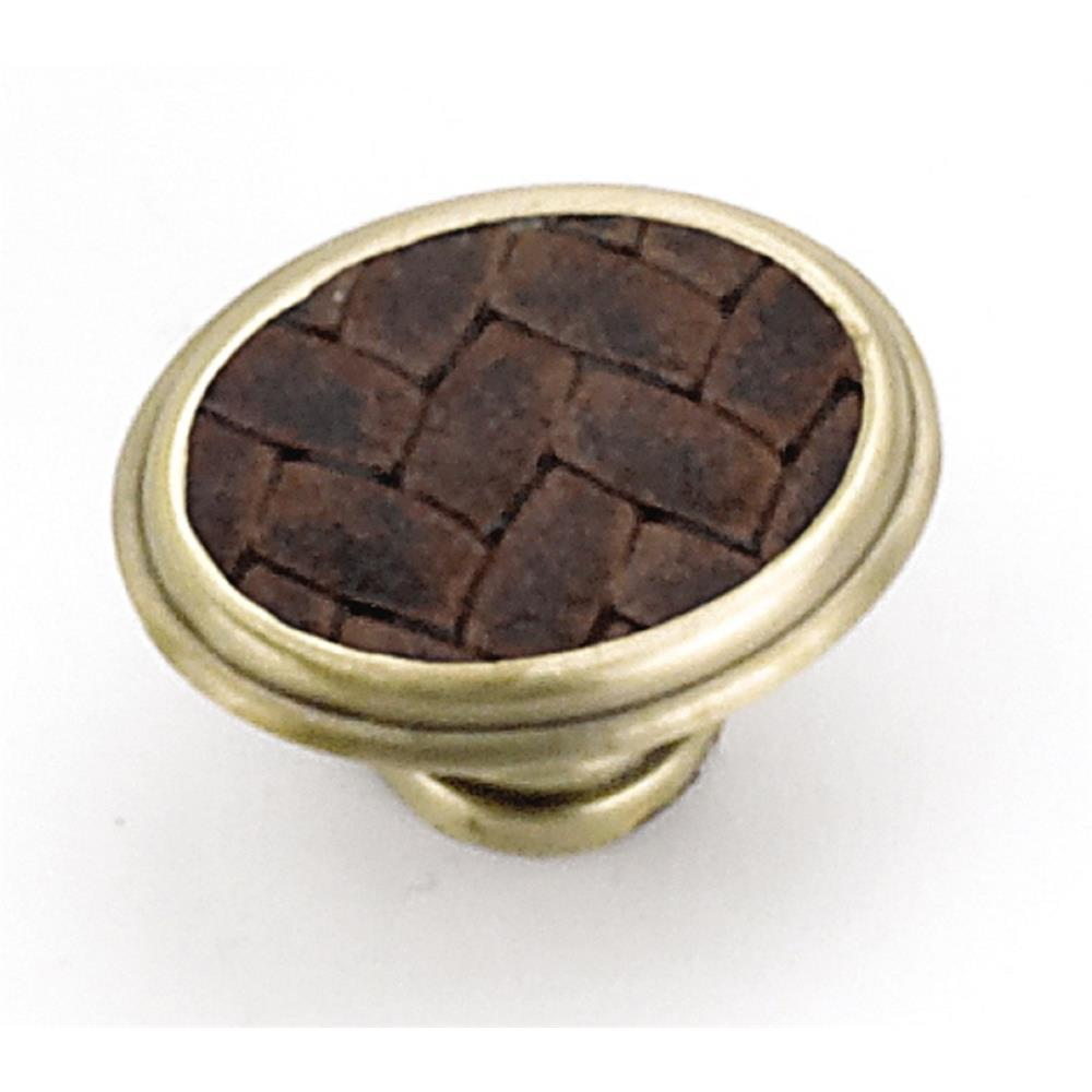 "Laurey 12194 1 5/8"" Churchill Knob- Satin Brass/Brown Leather Insert in the Churchill collection"