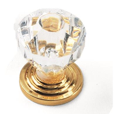 "Laurey 82004 1"" Acrystal Knob - Acrylic w/ Brass Base in the Kristal collection"