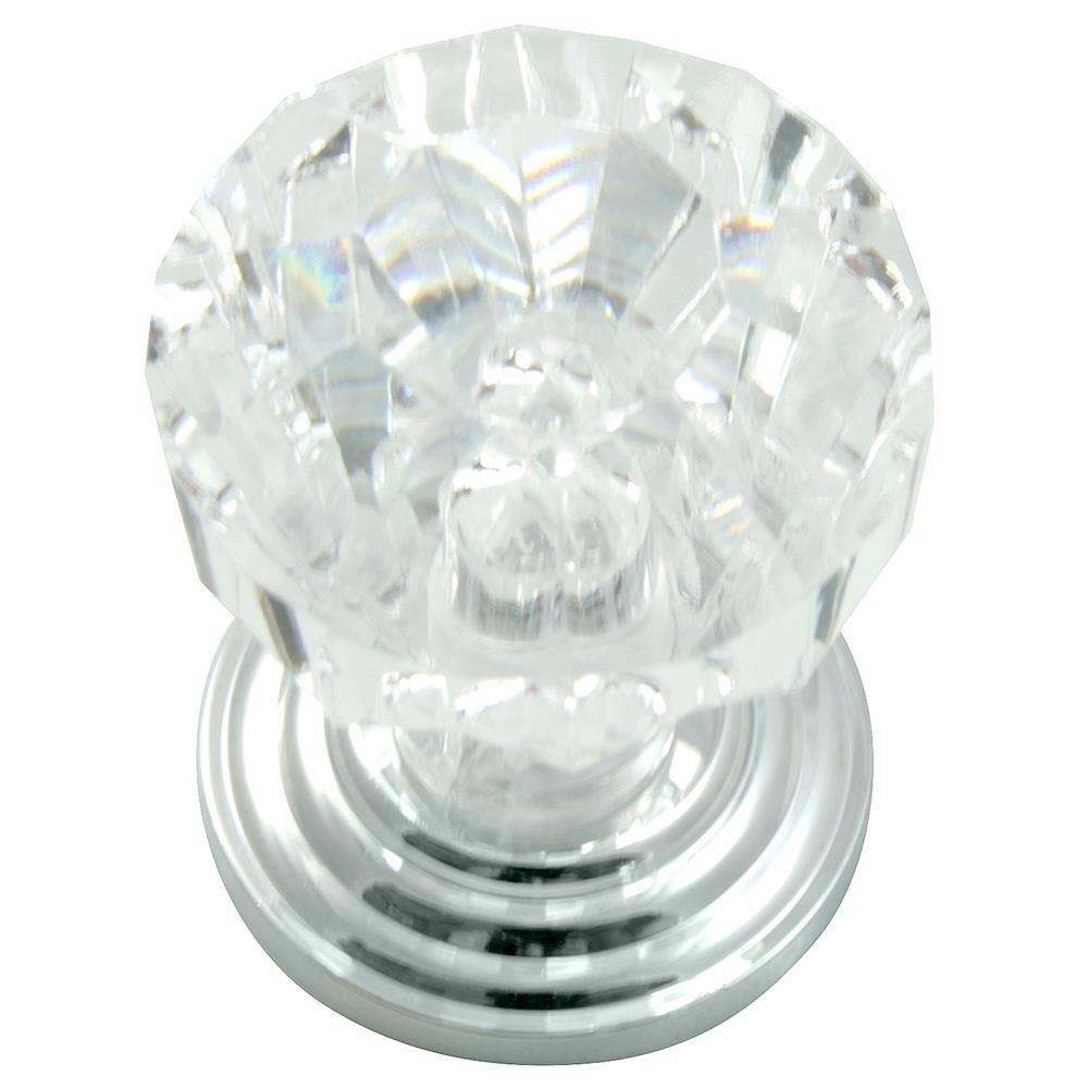 "Laurey 82026 1"" Acrystal Knob - Acrylic w/ Polished Chrome Base"