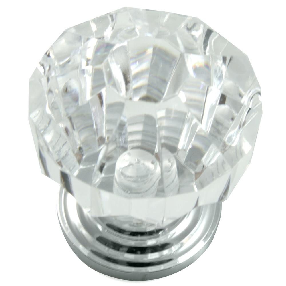 "Laurey 82126 1 1/4"" Acrystal Knob -w/ Polished Chrome Base"