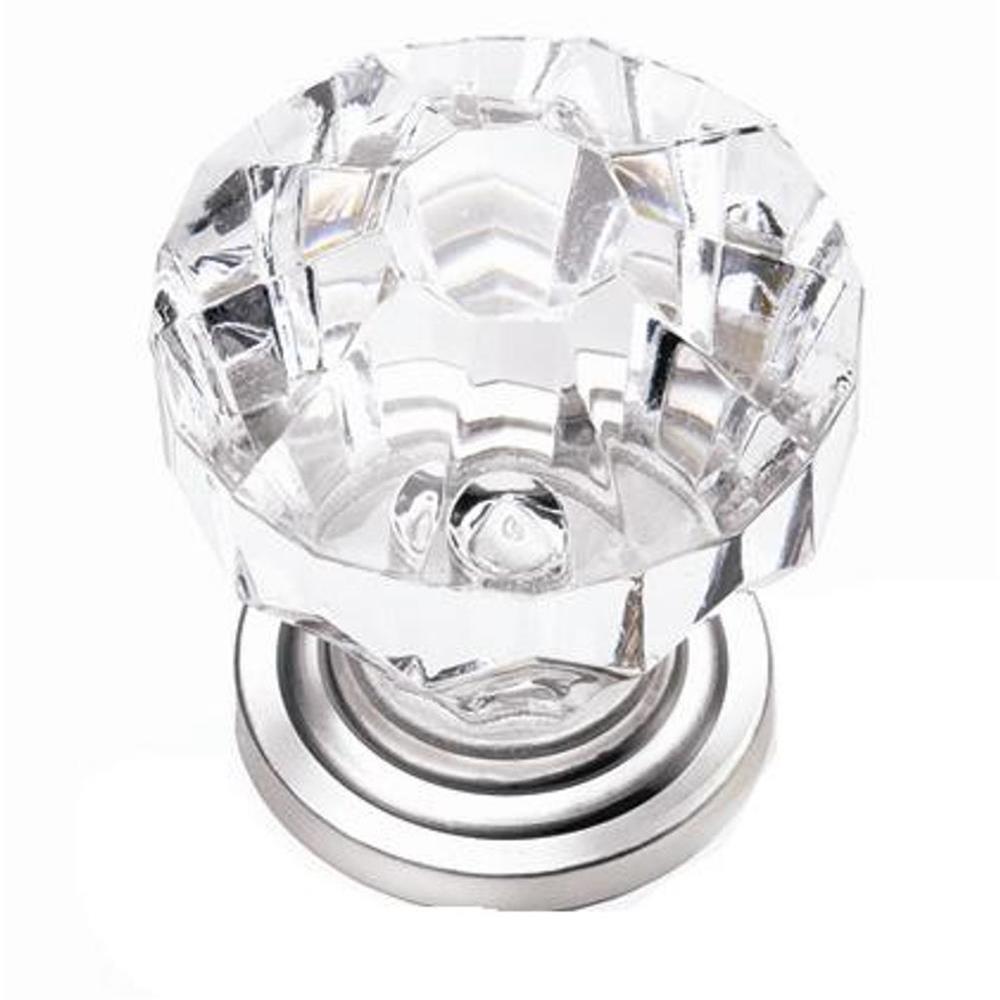 "Laurey 82159 1 1/4"" Acrystal Knob -w/ Satin Pewter Base in the Kristal collection"